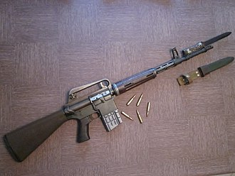 M16 rifle - ArmaLite AR-10 with mounted bayonet made by Artillerie Inrichtingen (A.I.).