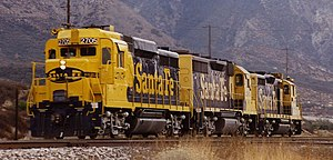 EMD GP30 - A GP30, GP35, and GP20 run light in the late 1980s on California's Cajon Pass.