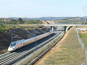 Rail transport in Spain - High-speed AVE train, Madrid-Barcelona line.