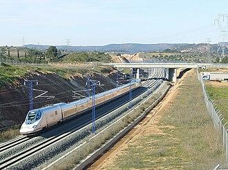 Rail transport in Spain - High-speed AVE train, Madrid-Barcelona line.