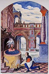 A Christ-like figure seated in a boiling vat while a man wor Wellcome V0025634.jpg