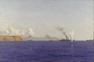 Norman Wilkinson (artist) - A Monitor with 14-inch Guns Shelling Yeni Sher Village and the Asiatic Batteries in the Dardanelles, in the First World War
