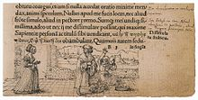 A Scholar Treads on a Market Woman's Basket of Eggs, marginal drawing by Hans Holbein the Younger.jpg
