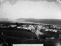 A view of Newport (Penf) from the castle NLW3362290.jpg