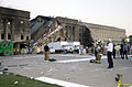A view of the damage done to the Western ring of the Pentagon Building as firefighters conduct rescue operation, hours after American Airlines Fight 77 was piloted by terrorists into the building, during the 010911-N-AV833-012.jpg