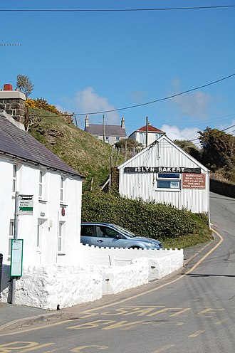 Aberdaron - Islyn Bakery, built of corrugated iron, is on the main road to Pwllheli, which climbs steeply up the Daron valley.