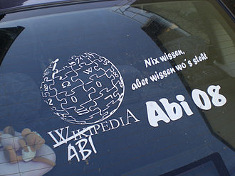 "Abitur - This German graduate (Abiturient) wrote on his car: ""Class of 2008: Not knowing anything, but knowing where it is written. Abipedia"" (a portmanteau word compiled from Abitur and Wikipedia)"