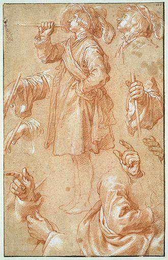 Study (art) - Image: Abraham Bloemaert Studieblad met staande trompetter, handen en armen