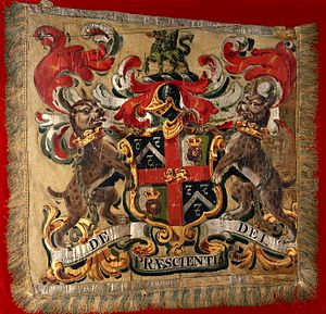 Worshipful Company of Barbers - Image: Achievement of arms of the Worshipful Company of Barber Surg Wellcome V0017230