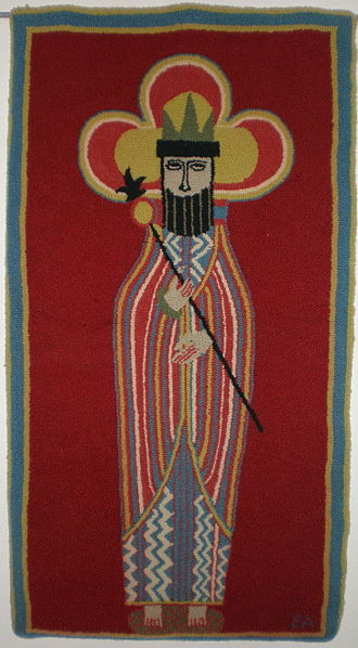 Jerome and Evelyn Ackerman - Jerome and Eveyln Ackerman hand-hooked tapestry rug
