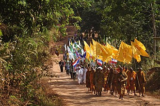 Communal violence - Dhammayietra, an annual peace march in Lampatao, Cambodia at Thailand border against communal violence.