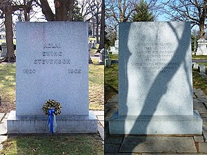 English: Headstone (front and back) of Adlai E...
