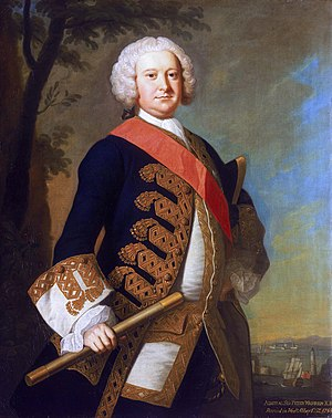 Sir William Johnson, 1st Baronet - Admiral Sir Peter Warren, c. 1751