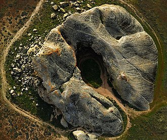 Painted Rock (San Luis Obispo County, California) - Aerial overhead view.