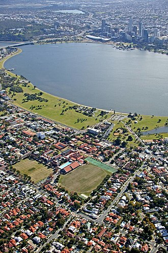 Wesley College (Western Australia) - Aerial view of Wesley College campus and Swan River