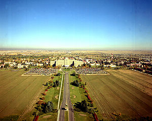 Fitzsimons Army Medical Center - Fitzsimons aerial view, circa 1973. Building 500 is at the center of the photo.