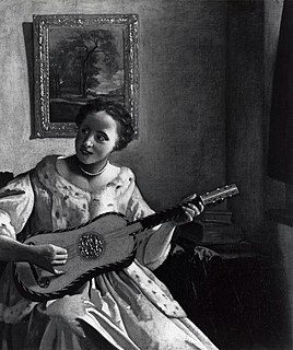<i>A Lady Playing the Guitar</i> painting by Johannes Vermeer