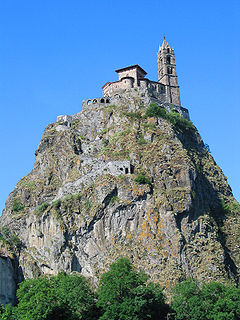 Saint Michel dAiguilhe church located in Haute-Loire, in France