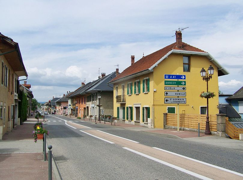 Main crossing road of the little commune of Albens in Savoie, France.