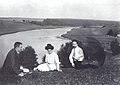 Alexander Scriabin, Tatiana Schloezer and Leonid Sabaneev on the banks of the Oka River.jpg