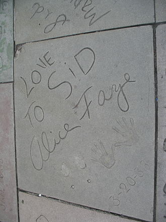 Alice Faye - Alice Faye's handprint/signature in front of the Grauman's Chinese Theatre.