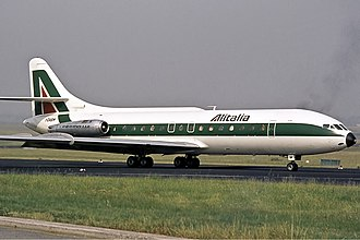 Düsseldorf Airport - An Alitalia Caravelle at Düsseldorf Airport in 1973