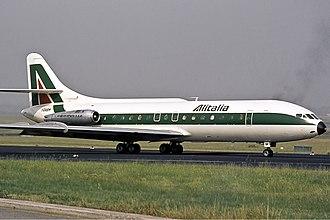 Alitalia-Linee Aeree Italiane - An Alitalia Sud Aviation Caravelle seen in August 1973.