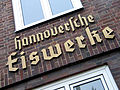 Alte Döhrener Straße 78, Hannover, Hannoversche Eiswerke, Schriftzug an der Ziegelsteinfassade.jpg
