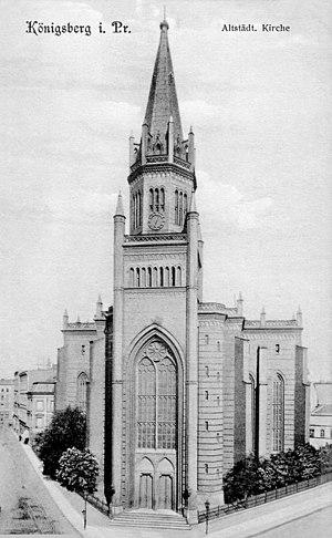 New Altstadt Church - Postcard depicting the church along Junkerstraße