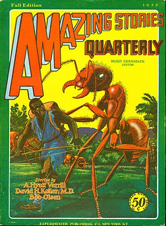 """Alpheus Hyatt Verrill - Verrill's novella """"The World of the Giant Ants"""" was the cover story for the Fall 1928 Amazing Stories Quarterly."""