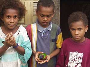 Ambae Island - Ambae children with pet Lorikeet