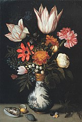 Flowers in a Wan-Li Vase with Shells