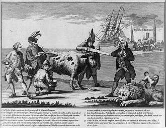 Economic history of the United States - Revolutionary era cartoon showing US sawing of the horn of a cow (symbolizing a break from British commerce) with a distressed Englishman watching as other European powers wait to collect milk. The cartoon represents the commercial status of the US during the Revolution.
