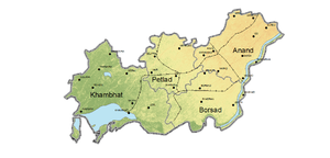 Anand district - Topographical map of Anand district