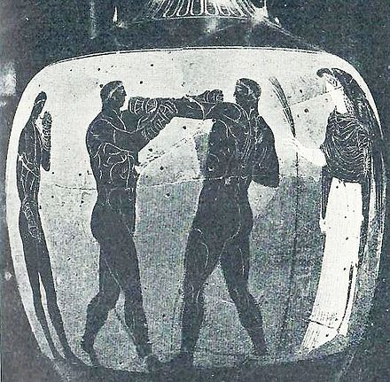 A boxing scene depicted on a Panathenaic amphora from Ancient Greece, circa 336 BC, British Museum Ancient Greece, Boxers (youths), Panathenaic Amphora.jpg
