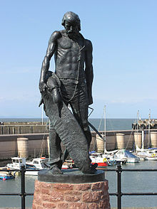 the rime of the ancient mariner  commemorative statue at watchet somerset the albatross hangs on a rope looped around the ancient mariner s neck