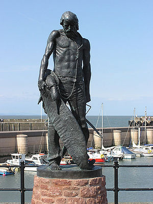 A statue of the Ancient Mariner at Watchet Har...
