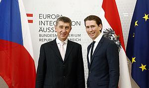 Andrej Babiš - Babiš with Austrian Foreign Minister Sebastian Kurz in February 2015