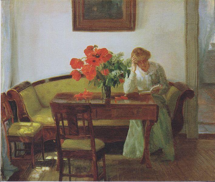 File:Anna Ancher - Interieur mit Mohnblumen und lesender Frau (Lizzy Hohlenberg) 1905.jpeg