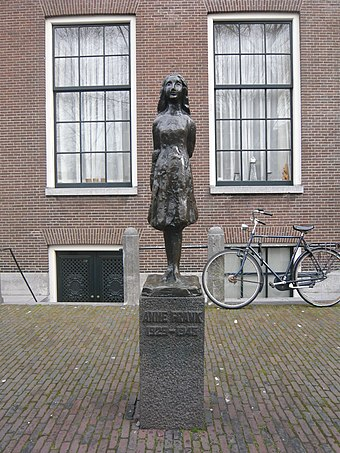 Statue of Anne Frank, by Mari Andriessen, outside the Westerkerk in Amsterdam