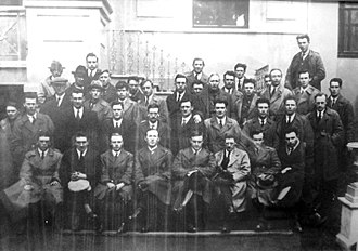 Tom McEllistrim (1894–1973) - Liam Lynch with some of his divisional staff and officers of the brigades, including the 1st Southern Division, who attended as delegates to the Anti-Treaty Army Convention at the Mansion House, Dublin, on 9 April 1922. Tom McEllistrim is 2nd from right at the very back.