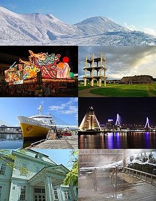 From top to bottom, left to right: The Hakkōda Mountains, Aomori Nebuta Matsuri, Sannai-Maruyama site, Seikan Ferry Memorial Ship Hakkōda Maru, the waterfront of Aomori as seen from Aomori Bay, the Aomori City Forestry Museum, and Asamushi Onsen