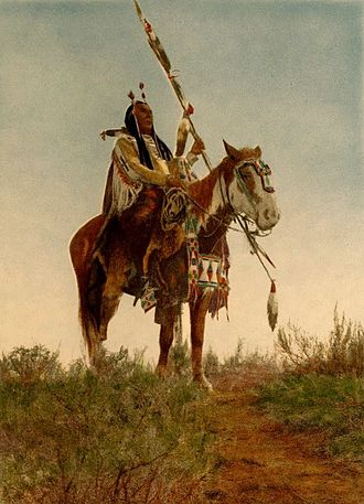 """Horses in the United States - """"Apsaroka Horse"""", depicting a horse of the Crow tribe, c. 1909"""