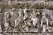 Detail of Galerius attacking Narseh on the Arch of Galerius at Thessaloniki, Greece, the city where Galerius carried out most of his administrative actions