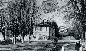 Arcore - Roma Street and Villa Borromeo-D'Adda, end of 19th century.