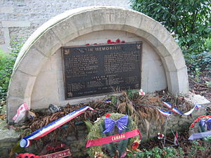 Ardenne Abbey massacre - A memorial to the murdered Canadian soldiers in the garden of the Abbey