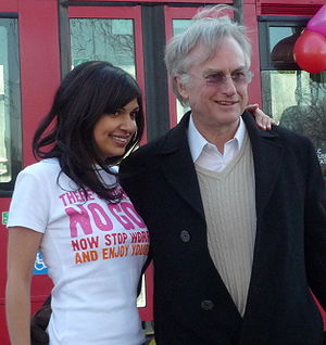 Ariane Sherine - Sherine and Richard Dawkins at the Atheist Bus Campaign launch in London