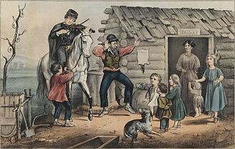 "The Arkansas Traveler (song) - Currier and Ives print, depicting ""The Turning of the Tune"" in The Arkansas Traveler."