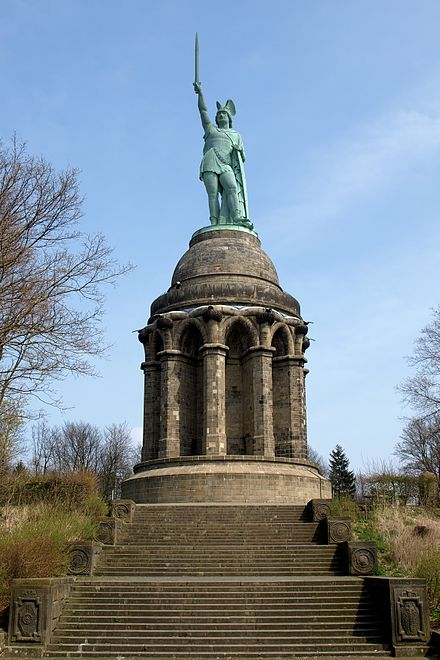 The Hermannsdenkmal in the southern part of the Teutoburg Forest, Germany Arminius1.jpg