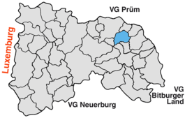 Location of Merlscheid in the Verbandsgemeinde Arzfeld